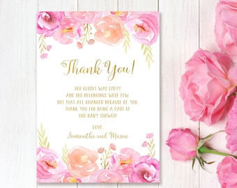 baby shower thank you card floral baby shower thanks card watercolor baby shower thank you card bs06