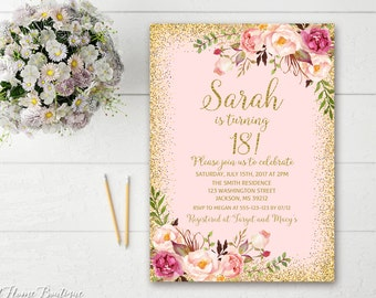 18th Birthday Invitation Any Age Women Floral Pink And Gold Boho Invite BW02 18