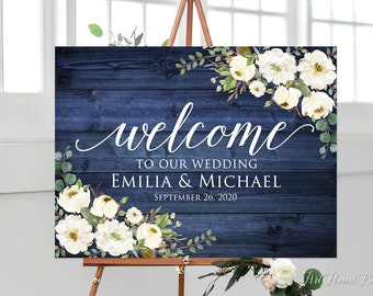 Welcome to Our Beginning Sign W342 Printable Sign Navy Welcome Wedding Sign Welcome To Our Wedding Sign White Roses Digital File