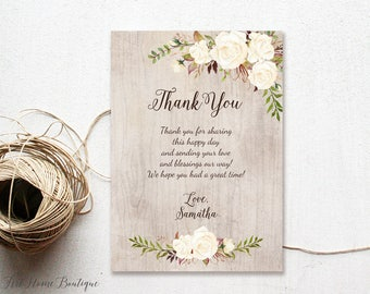 bridal shower thank you cards engagement party thank you card thank you notes rustic bridal shower thank you card w249