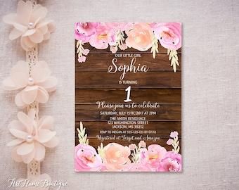 First Birthday Invitation, Girls First Birthday Invitation, Watercolor 1st Birthday Girls Invitation, #F17