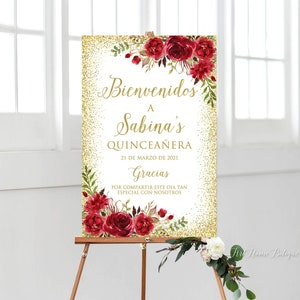 W768 Quincea\u00f1era Welcome Sign Printable  Sign Red Flowers Large Welcome Sign Quincea\u00f1era Sign Red and Gold Welcome Sign
