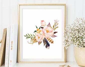 Floral Print floral wall art  Flower Print Floral Print Gallery Wall Prints  Rustic Decor watercolor flowers Dorm Decor Nursery Decor boho
