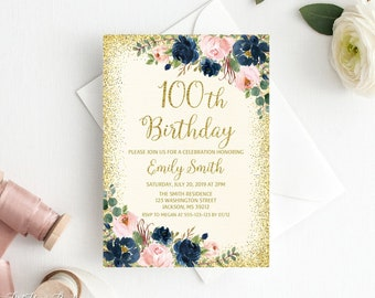 100th Birthday Invitations Etsy