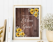 Sunflowers and Baby s Breath Succulent Sign, Take one Home and Let Love Grow , W827