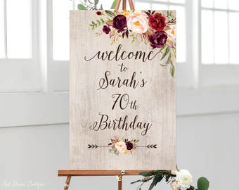 Rustic Birthday Welcome Sign Any Age Floral To Large Burgundy Marsala BW133 B