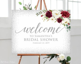 winter bridal shower welcome sign silver bridal shower welcome sign burgundy bridal shower welcome sign landscape sign w582