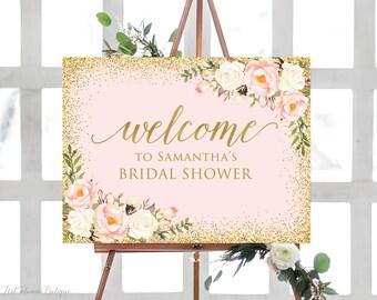 welcome bridal shower sign blush pink bridal shower welcome sign large welcome sign floral welcome sign horizontal landscape sign w287