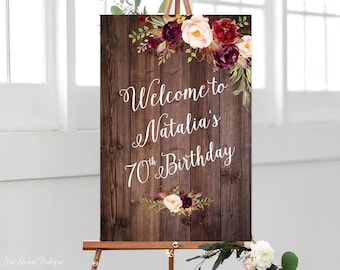 Rustic Birthday Welcome Sign Any Age Burgundy To Large Marsala BW131