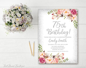 75th Birthday Invitation Any Age Women Floral Silver Boho InviteBW95
