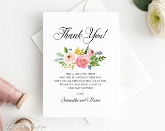 baby shower thank you card floral baby shower thanks card watercolor baby shower thank you card bs007