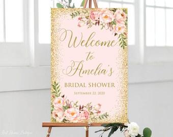 bridal shower welcome sign blush pink bridal shower welcome sign blush and gold printable sign w547