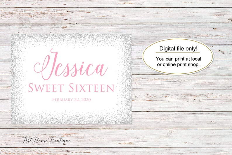 Silver and Pink Welcome Sign Sweet Sixteen Welcome Sign Landscape Sweet 16 Birthday Welcome Sign W838