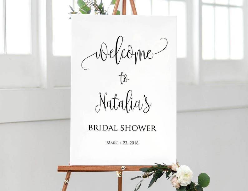 Printable Sign #W59 Calligraphy Welcome to Bridal Shower Sign Bridal Shower Welcome Sign Delicate Welcome Sign Large Welcome Sign