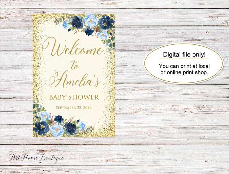 W794 Ivory and Blue Baby Shower Welcome Sign Printable Welcome Sign Baby Shower Welcome Sign