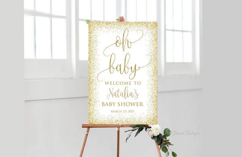 Calligraphy Welcome to Baby Shower Sign Baby Shower Welcome Sign BS072 Gold Welcome Sign Large Welcome Sign Oh Baby Welcome Sign