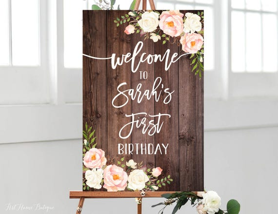 Floral Welcome Birthday Sign W426 Landscape Greenery Birthday Welcome Sign Any Age Large Welcome Sign