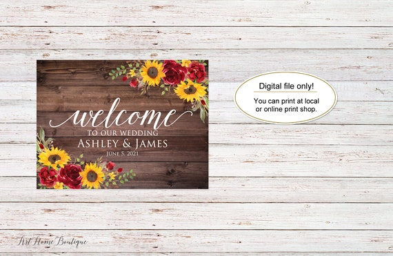 Sunflower Welcome Sign W1022 Digital file Rustic Sunflowers Bridal Shower Welcome Sign Landscape Large Welcome Sign