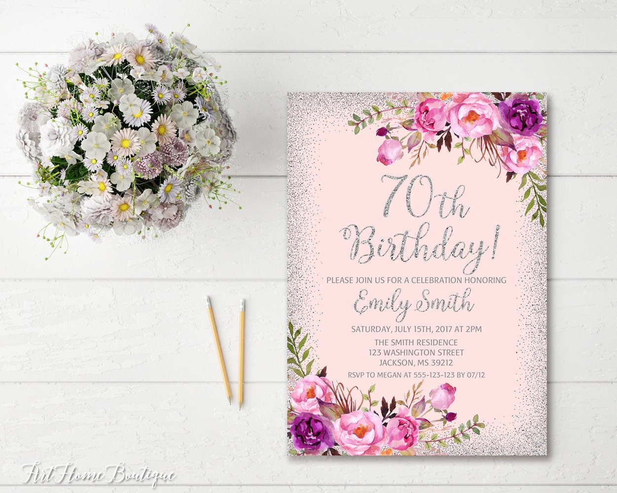 70th birthday invitation any age women birthday invitation etsy 50 izmirmasajfo