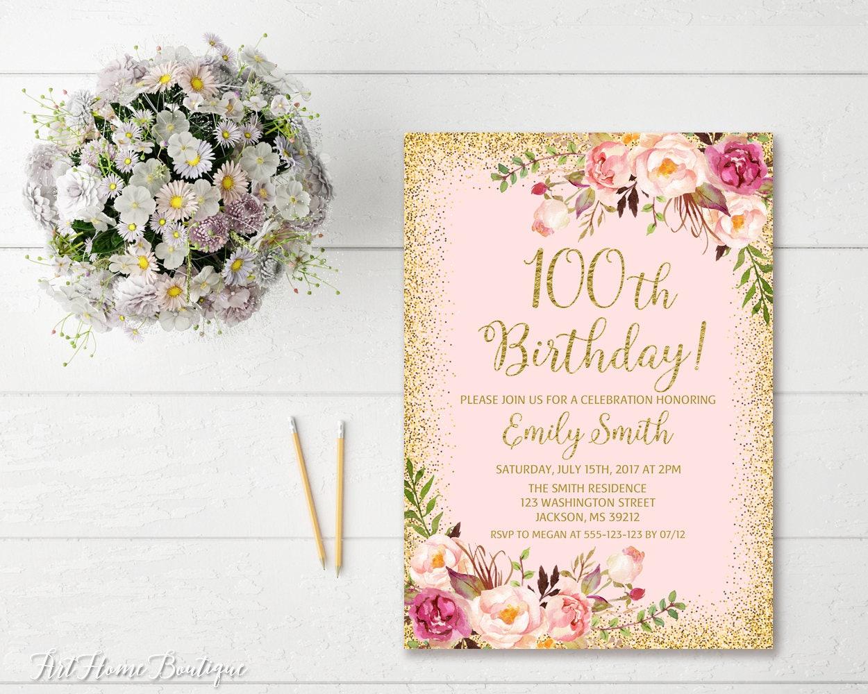 100th Birthday Invitation Any Age Women Birthday Invitation Etsy