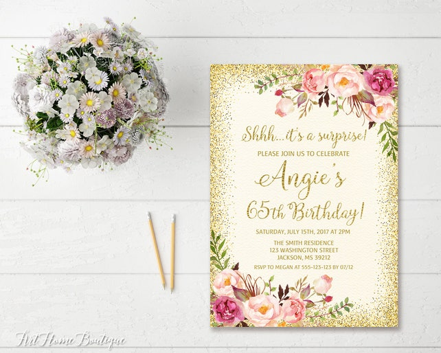 Surprise 65th Birthday Invitation Any Age Women Floral Ivory Boho Invite