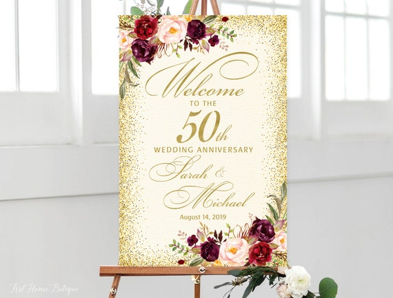 50th Anniversary Welcome Sign 50th Anniversary Decoration Etsy