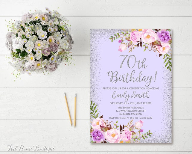 70th Birthday Invitation Any Age Women Floral Lavender Boho Invite BW31 70