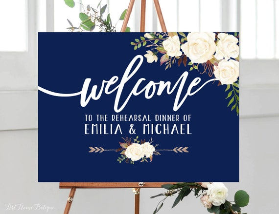 Digital file Rustic Rehearsal Dinner Welcome Sign White Roses Welcome Wedding Poster Rehearsal Wedding Sign W177 Landscape Sign