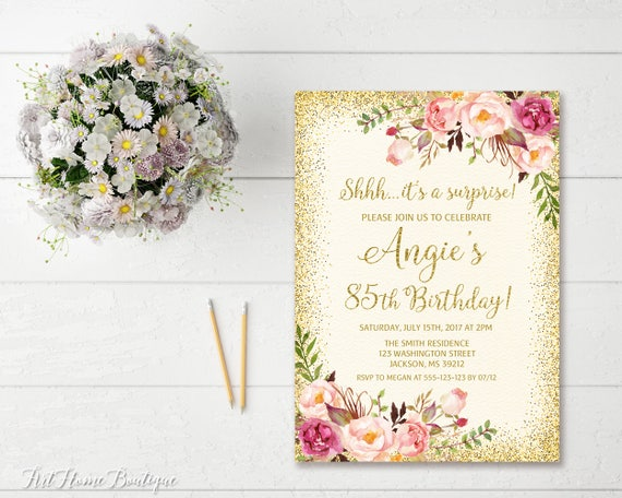 Surprise 85th Birthday Invitation Any Age Women
