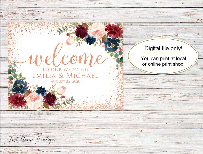 Welcome Wedding Sign Marsala W746 Horizontal Landscape Wedding Sign Burgundy Wedding Rose Gold Welcome To Our Wedding Sign