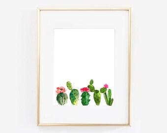 Cactus Print, Cactus Wall Art, Watercolor Cactus Print, Succulent Art Print, Tropical Wall Print, INSTANT DOWNLOAD, Digital File