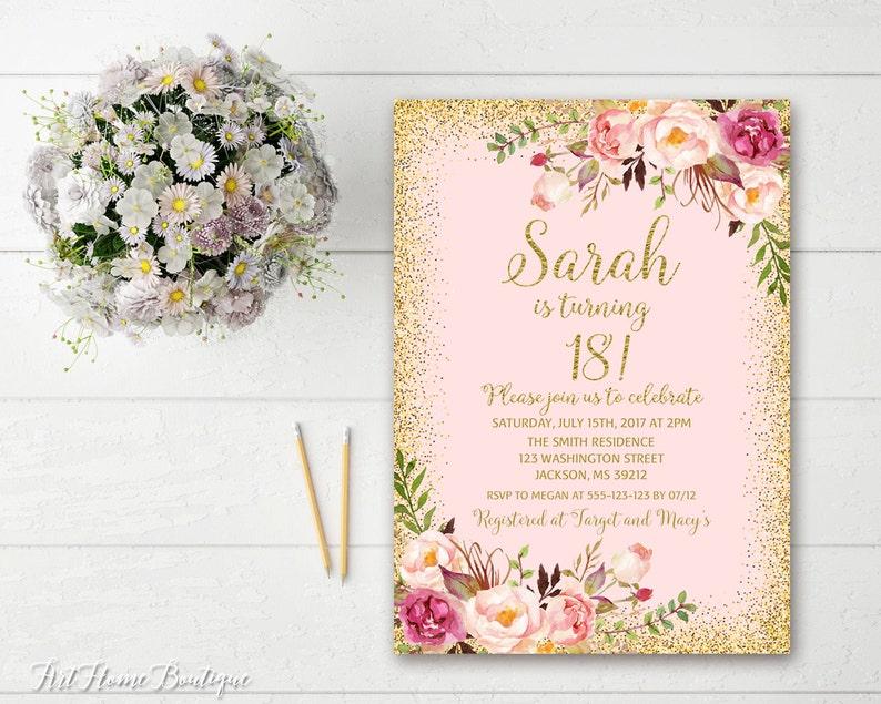 18th Birthday Invitation Any Age Women Birthday Invitation Etsy