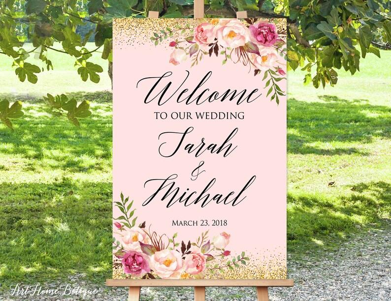 W-117 Wedding Signs Printable Printable Welcome Sign Large Welcome Sign Welcome To Our Wedding Sign Blush Pink Welcome Wedding Sign