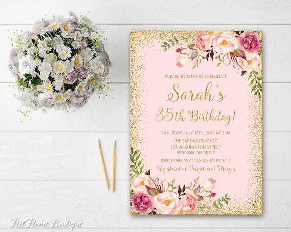 35th Birthday Invitation Any Age Women