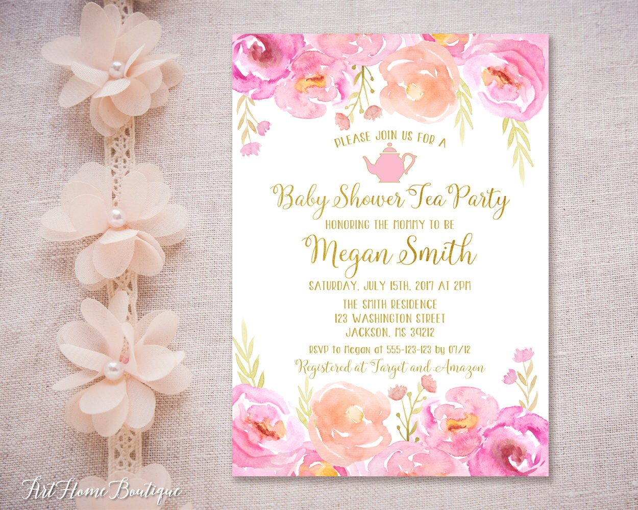 Baby shower sprinkle Tea Party Invitation Baby Shower Tea | Etsy