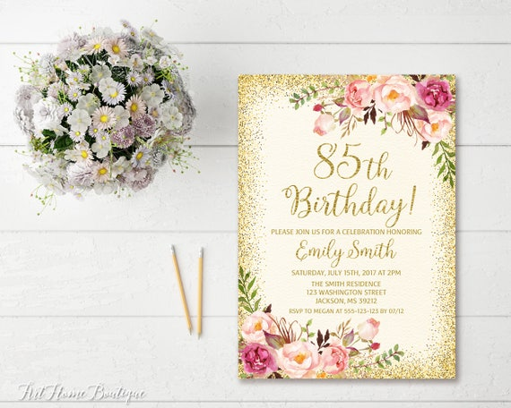 85th Birthday Invitation Any Age Women
