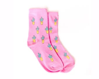 Cute pink Cactus Socks, Hand-Printed, one size