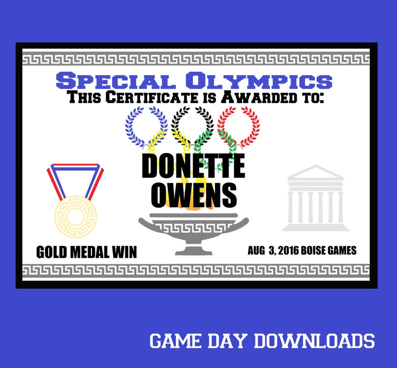 DIGITAL Special Olympics Award Certificate Diy EDITABLE PDF Instant  Download File Sports Athletics Digital file Party Activity