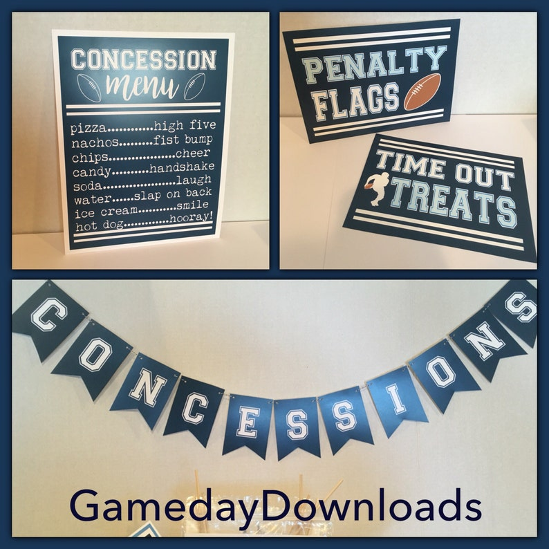 DIGITAL Naby Blue Concessions Menu Banner and Time Out Treats sign and  Penalty Flags Sign instant download