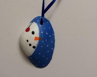 Snowman Seashell Ornament-snowman, snowman ornament, Christmas ornament, cute snowman, nautical ornament, seashell ornament, nautical,