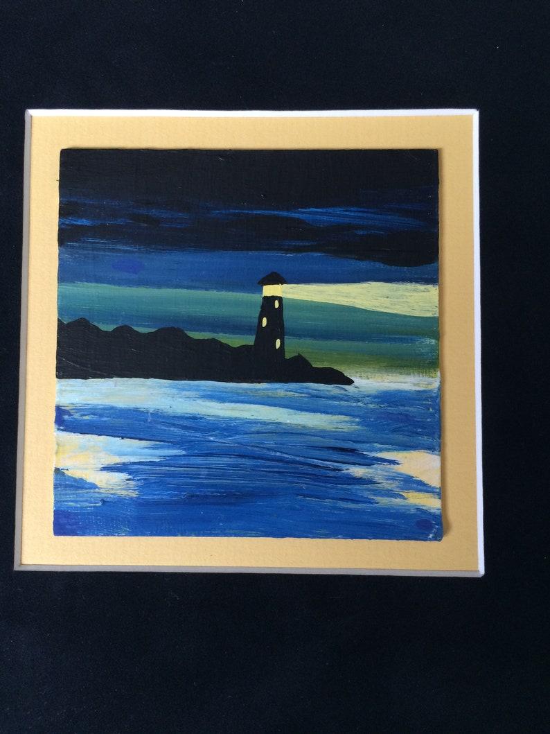 Lighthouse at Night Painting-acrylic, acrylic painting, lighthouse,  lighthouses, night, nighttime, seascape, nautical, nautical painting,