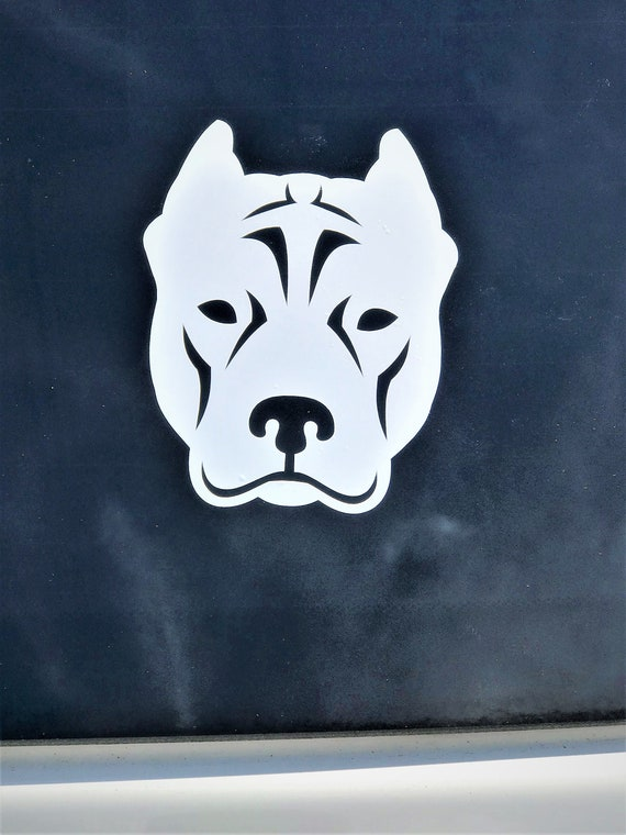 Pit Bull Dog Sign Art Print Design Pitbull Clear Vinyl Decal Sticker Portrait for Window