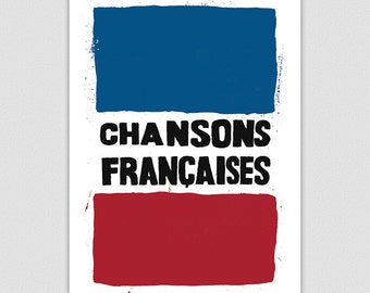 French Songs Print, Home Wall Art, Retro Poster Protest Print, Music Poster, Home Decor, 1960s Poster, Cool Poster, Francais typography