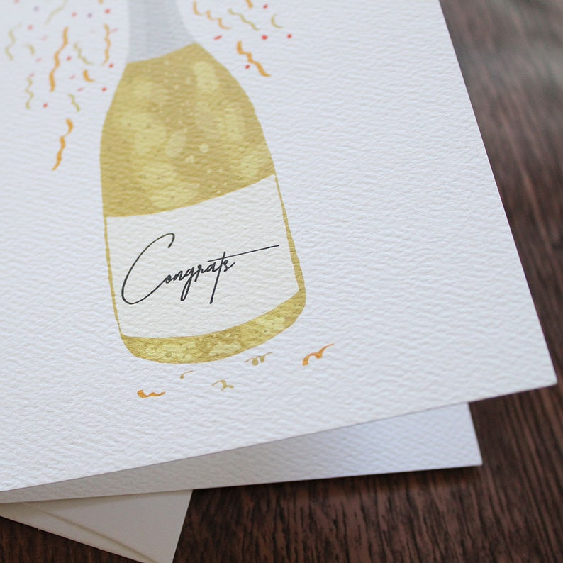 Champagne Bottle Confetti Greeting Card Congratulations Card For Milestone Moments  New Job  Promotion  Graduation