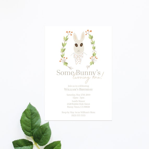 Bunny 1st Birthday Invitation Card Kids Invite Boy First Birthday Rabbit Birthday Spring Printed Digital Electronic Invitation