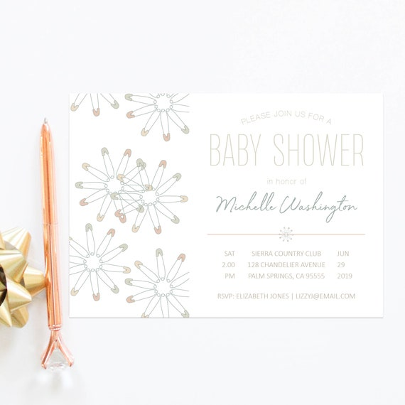 Baby Shower Invitation Card Baby Boy Shower Gender Neutral Baby Sprinkle Invites Neutral Color Couples Baby Shower Elegant Invitations