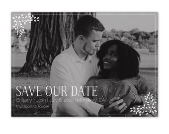 Save the Date Black & White Photo Card, Moody Wedding Save the Date, Modern/Elegant/Neutral/Minimalist/Simple, Save the Date Announcement