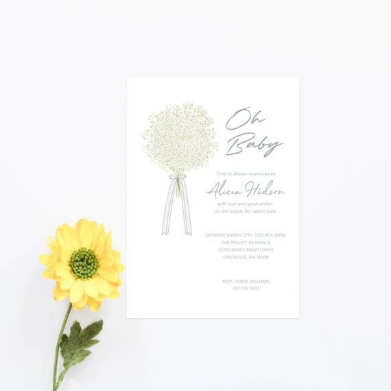 Baby Shower Invitation Card Gender Neutral Baby Sprinkle Invites Neutral Color Boy Baby Shower Elegant Invitations Oh Baby Green Floral