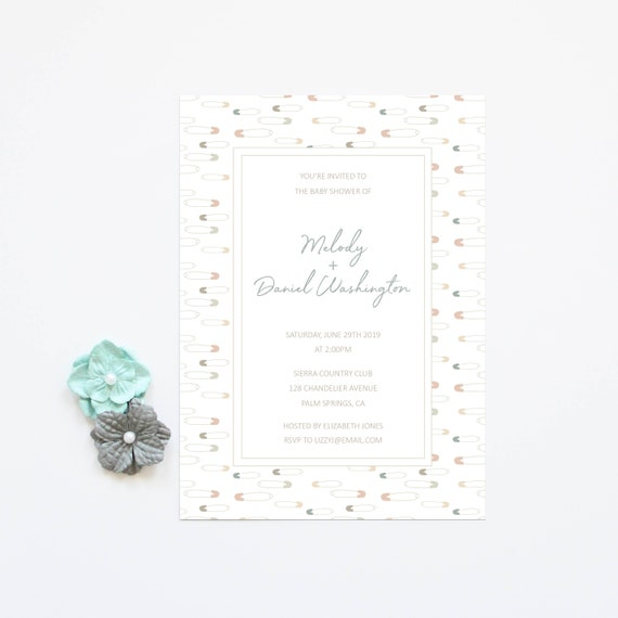 Baby Shower Invitation Cards Baby Boy Girl Shower Neutral Color Couples Baby Shower Baby Sprinkle Invites Printed Invitations