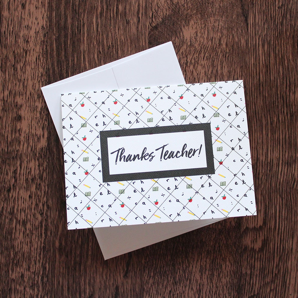 Thank You Card For Teacher Greeting Card For Teacher Unique Etsy